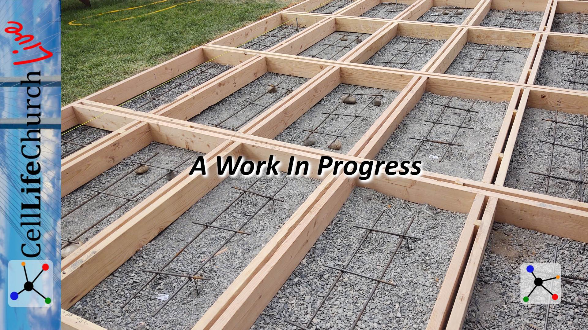 Concrete forms with steel reinforcement bars in a work in progress